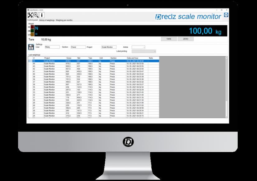 Scale Monitor Software© by Preciz
